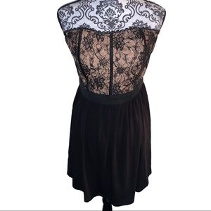 Elle Black & Beige Lace Corset Dress SIZE 12